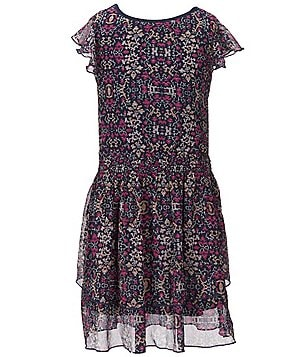 Jessica Simpson Big Girls 7-16 Hazely Ruffle Printed Tiered Dress