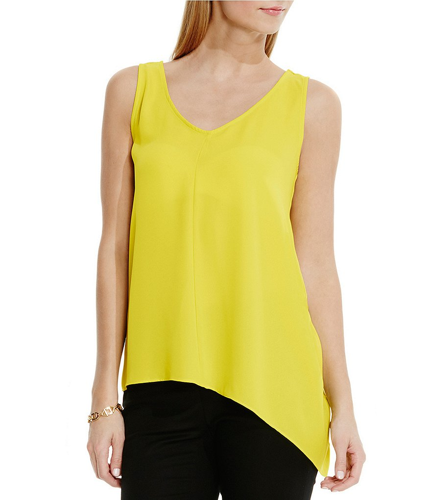 Vince Camuto Asymmetrical Hem Mix Media Top