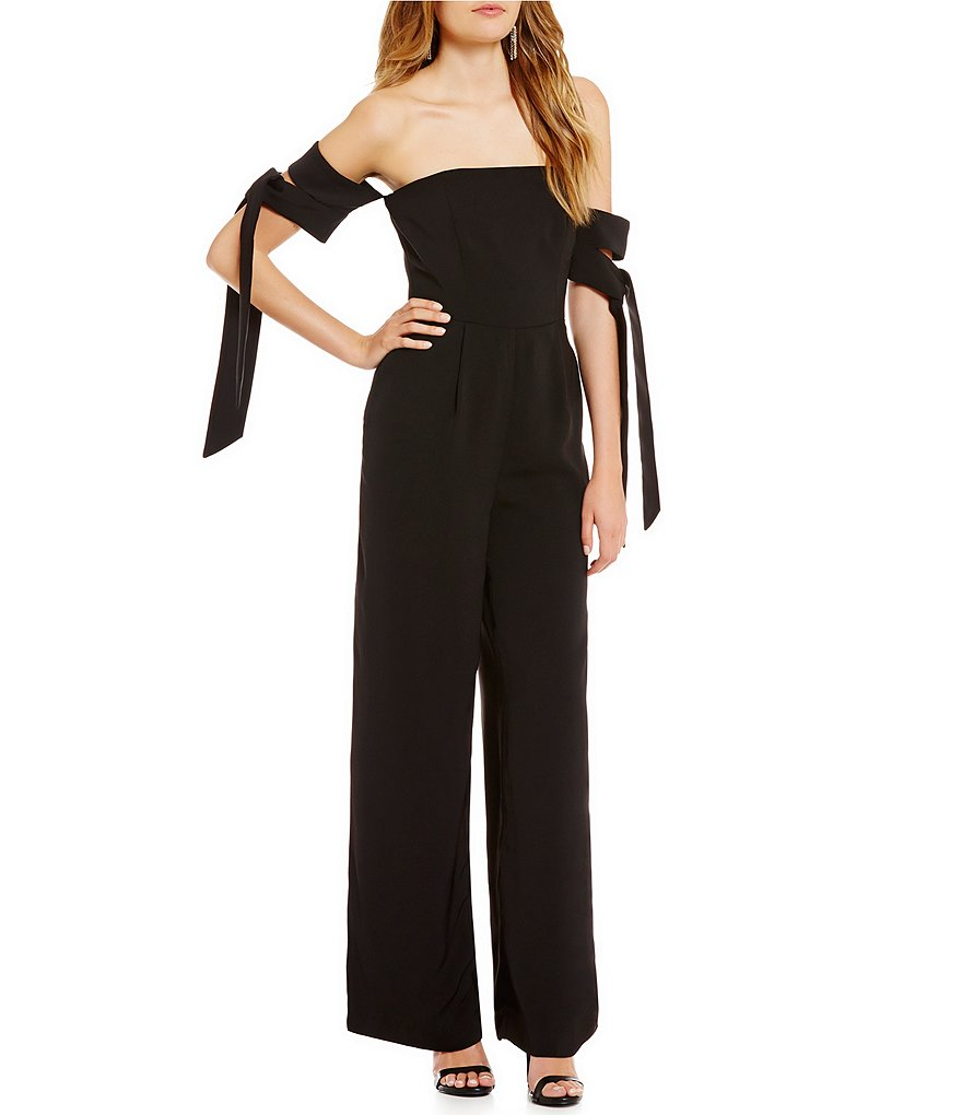 C/MEO Charged Up Off-the-Shoulder Tie-Sleeve Jumpsuit