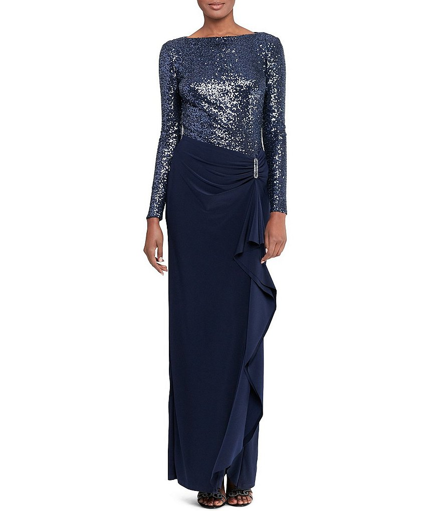 Lauren Ralph Lauren Long Sleeve Shirred Side Sequined Jersey Gown
