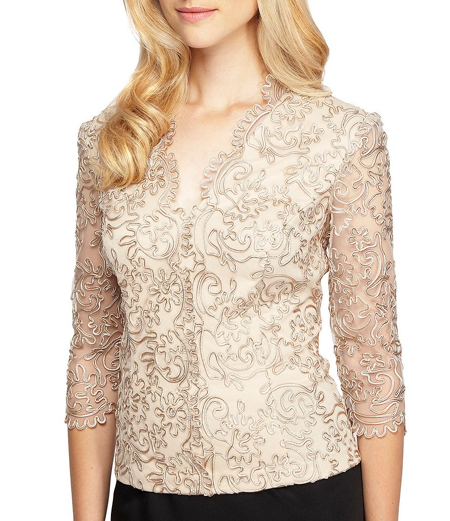 Alex Evenings Petite Embroidered Scallop Blouse