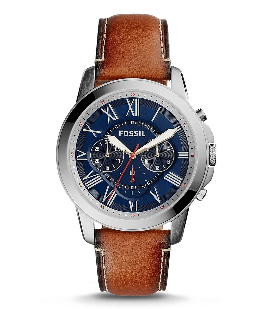 Fossil Grant Chronograph Leather-Strap Watch