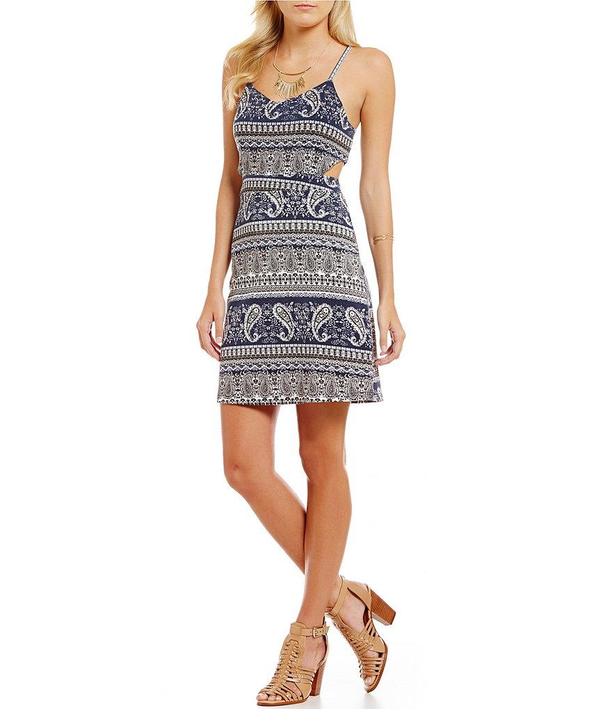C&V Chelsea & Violet Paisley Printed Side Cut-Out A-line Dress