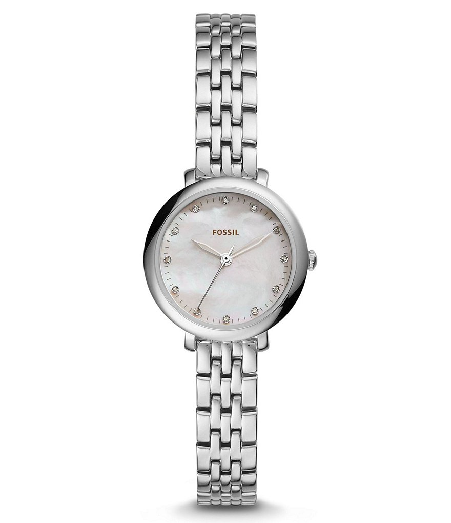 Fossil Jacqueline Mini Mother-of-Pearl & Crystal Analog Bracelet Watch