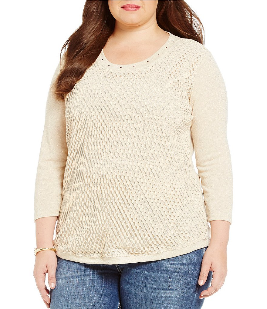 Reba Plus Metallic Knit 3/4 Sleeve Top