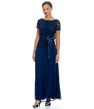 Marina Drape-Back Mock 2-Piece Sequin Lace Gown