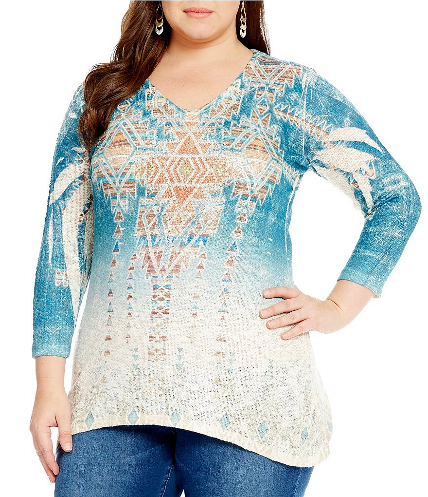 Reba Plus Printed 3/4 Sleeve Knit Top