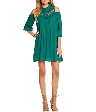 As U Wish Cold Shoulder Lace Yoke Shift Dress