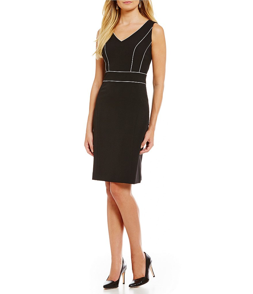 Kasper Stretch Crepe V-Neck Sleeveless Sheath Dress