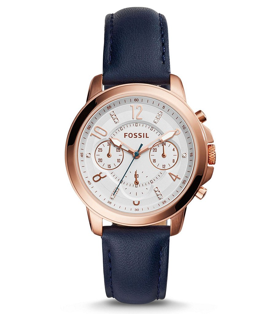 Fossil Gwynn Chronograph Leather-Strap Watch