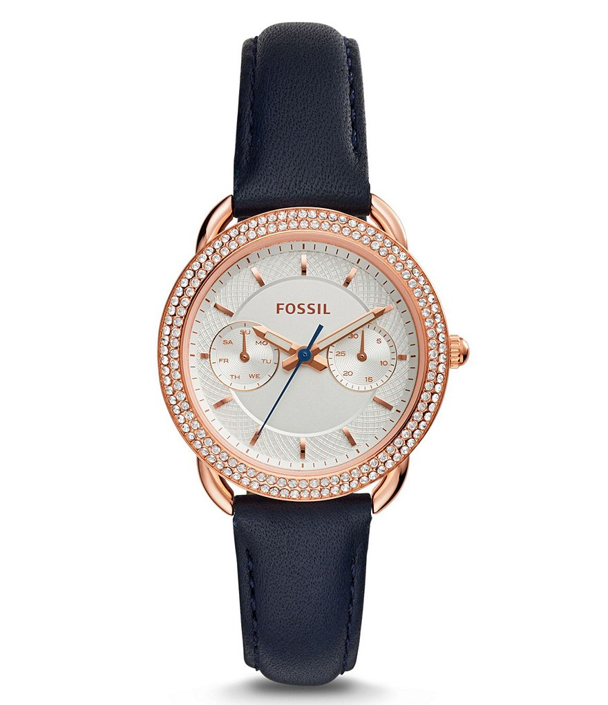 Fossil Tailor Multifunction Leather-Strap Watch
