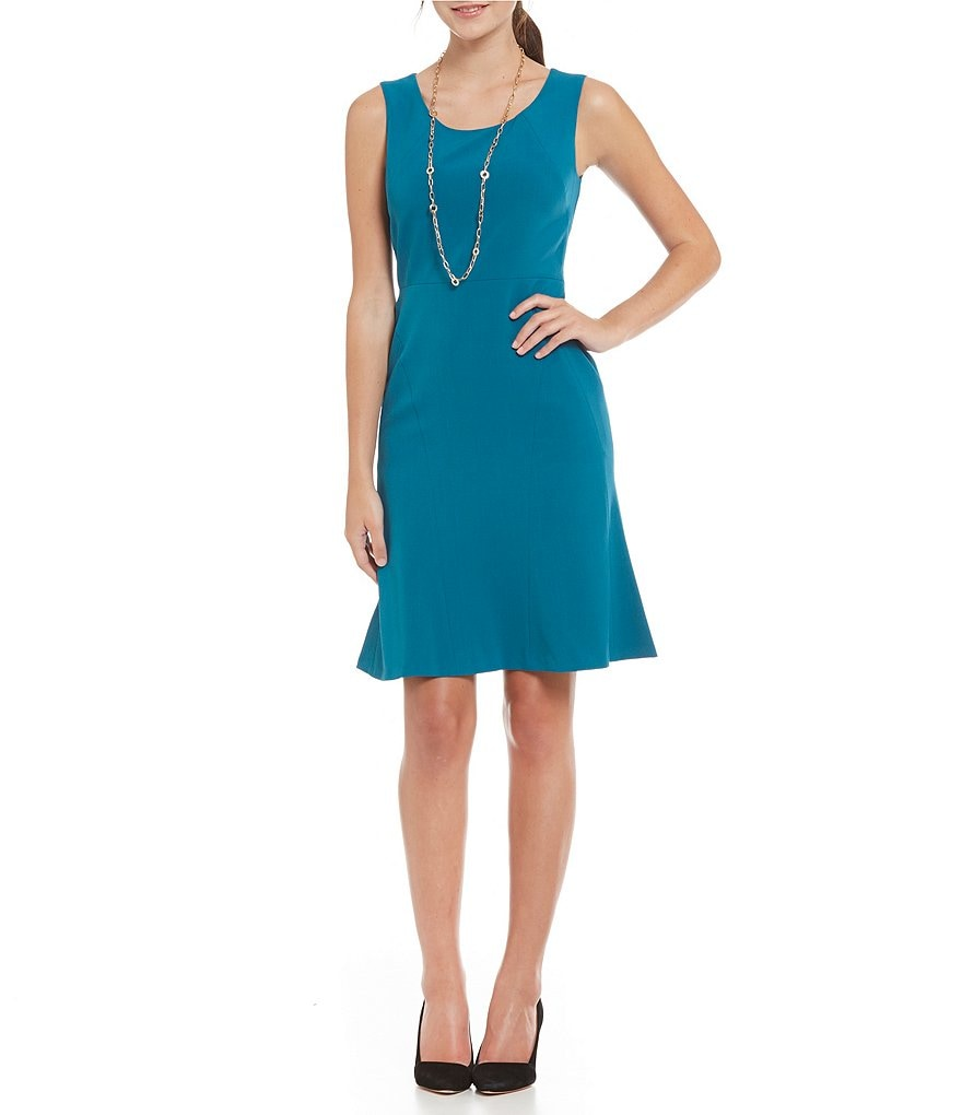 Kasper Solid Stretch Crepe Fit-and-Flare Dress