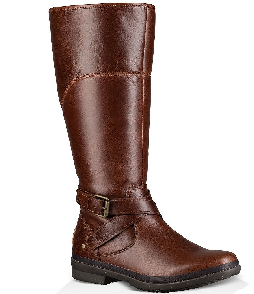 UGG® Evanna Strap and Buckle Detail Leather Riding Boots