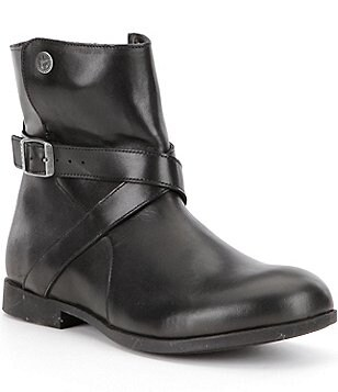Birkenstock Collins Leather Strap & Buckle Detail Ankle Boots