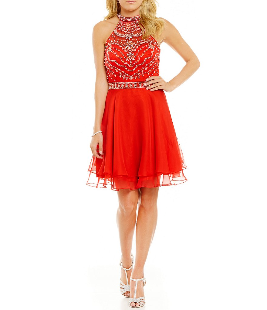 Coya Collection High-Neckline Beaded Bodice Illusion-Yoke Short A-line Dress