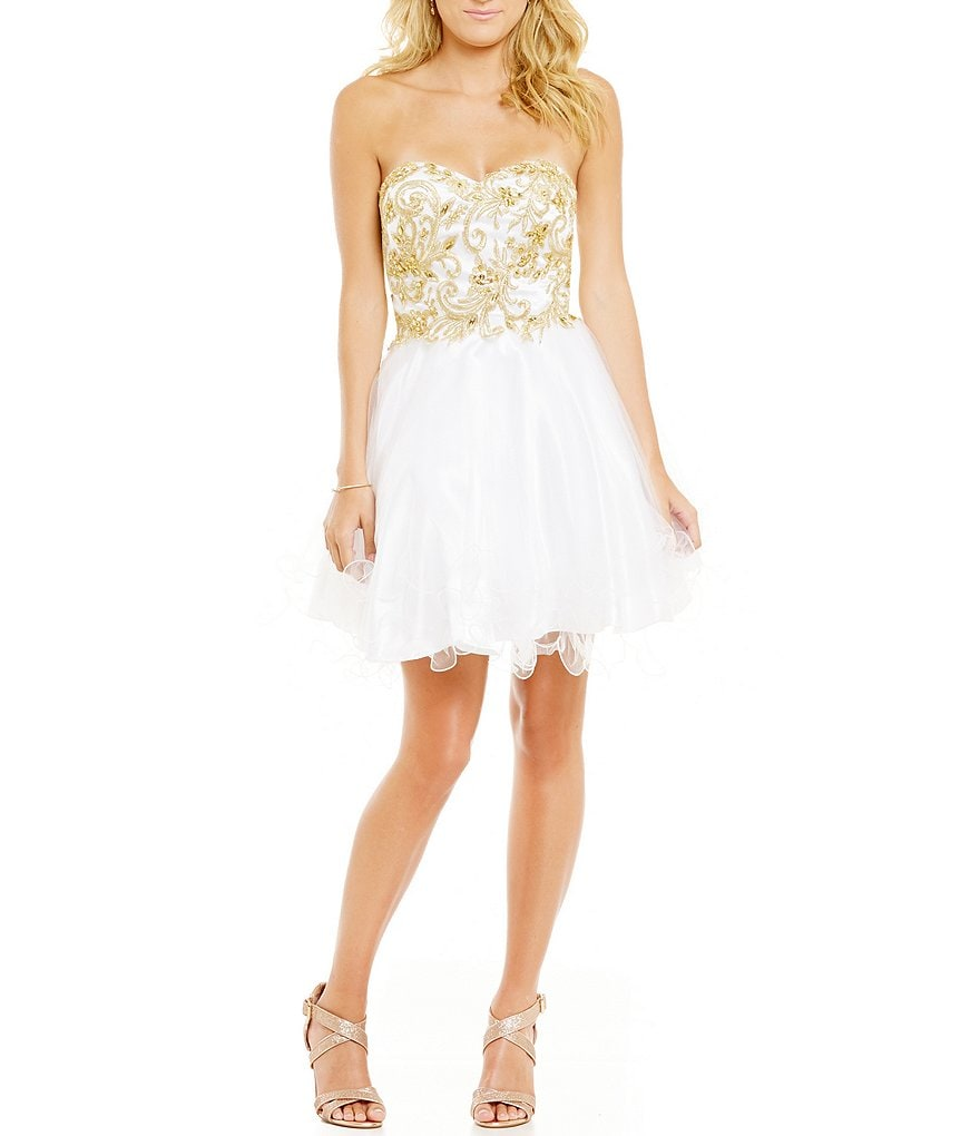 Coya Collection Strapless Embellished Embroidered Bodice Skater Party Dress