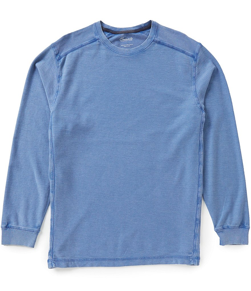 Roundtree & Yorke Casuals Long-Sleeve Solid Pique Crewneck Tee
