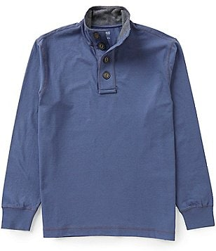 Roundtree & Yorke Casuals Long-Sleeve Solid Button Mockneck Pullover