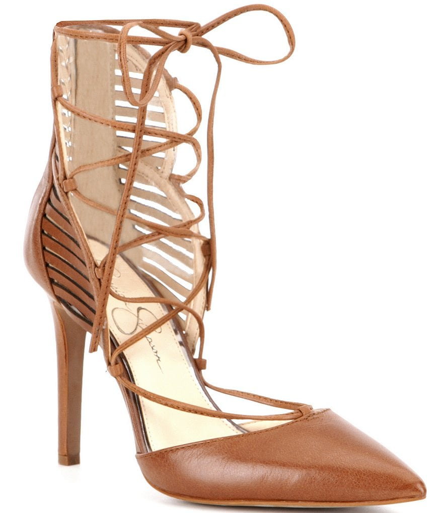 Jessica Simpson Cynessa Lace-Up Leather Pumps