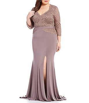 Terani Couture Plus 3/4 Sleeve Beaded Lace Gown
