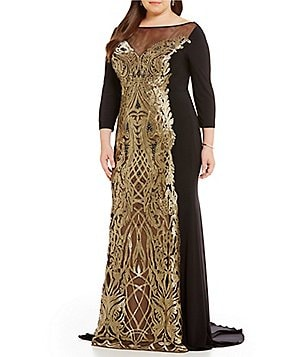 Terani Couture Plus 3/4 Sleeve Metallic Applique Gown