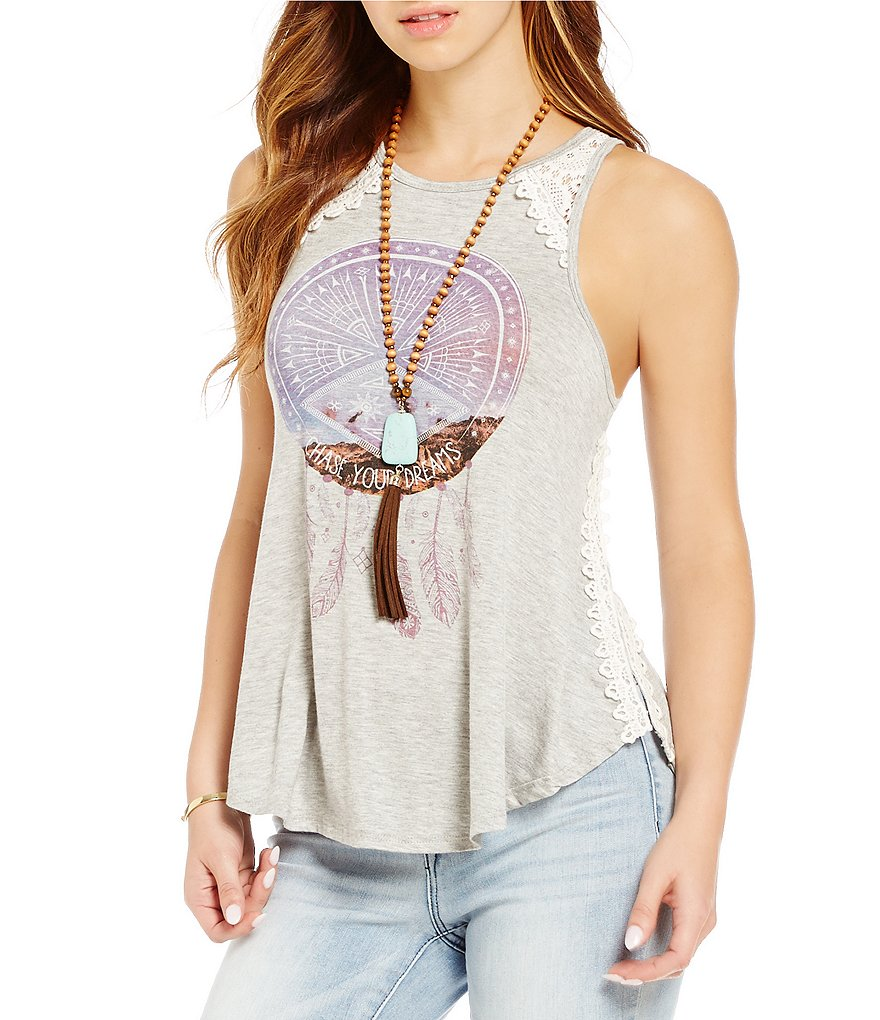C&V Chelsea & Violet Chase Your Dreams Knit Graphic Tank