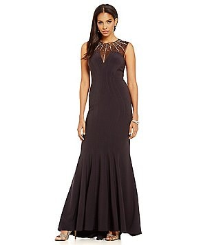 Betsy & Adam Beaded Yoke Sleeveless Gown