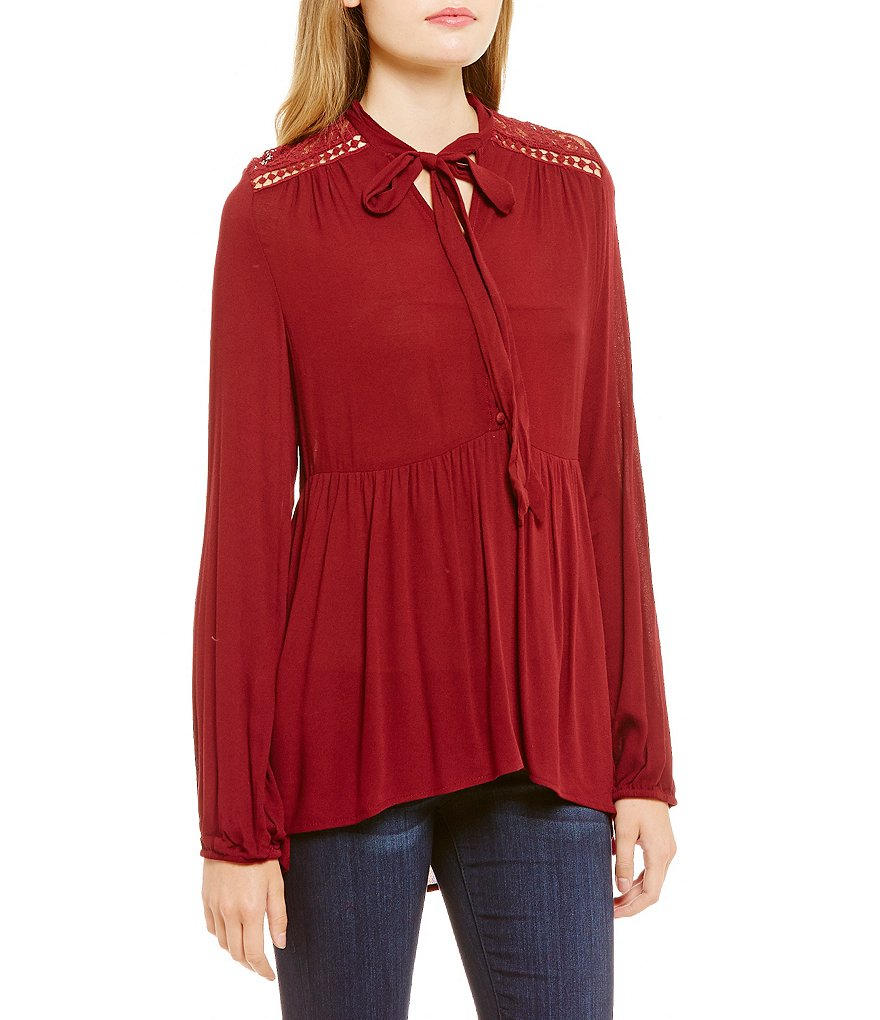 Coco + Jaimeson Lace Insets Tie-Neck Tunic Top