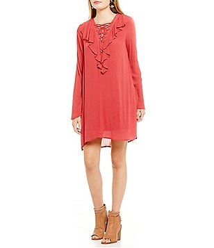 Coco + Jaimeson Lace-Up Ruffle-Front Shift Dress