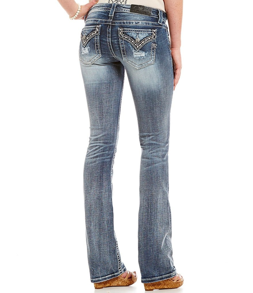 Miss Me Border Flap Pocket Bootcut Jeans