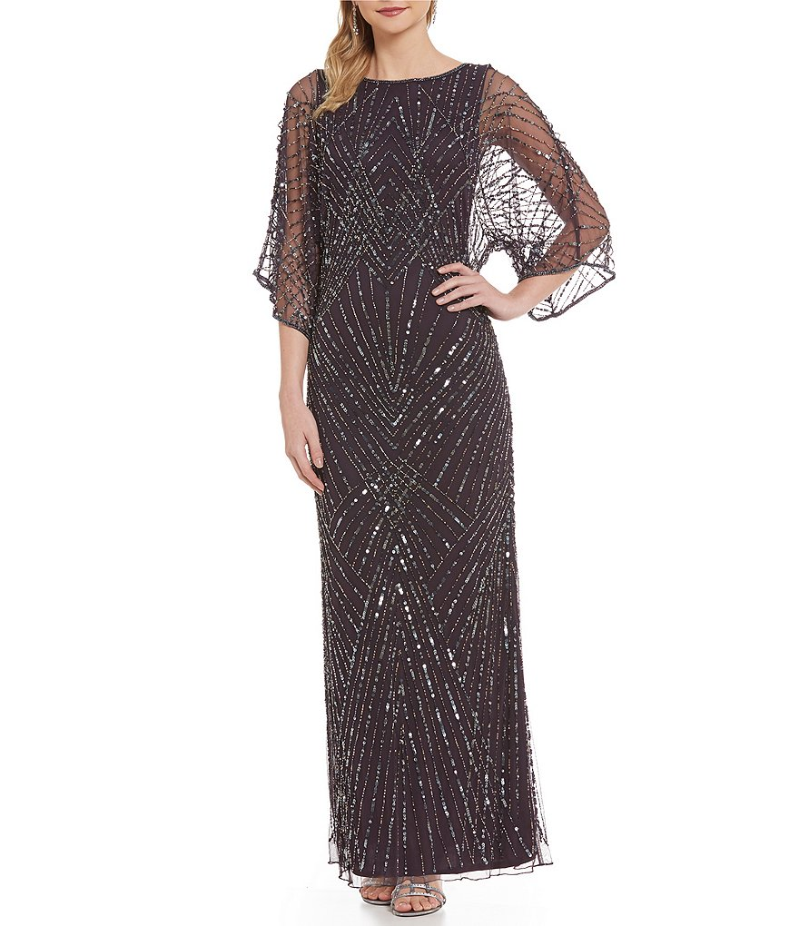Pisarro Nights Bateau Neck Dolman Sleeve Beaded Gown