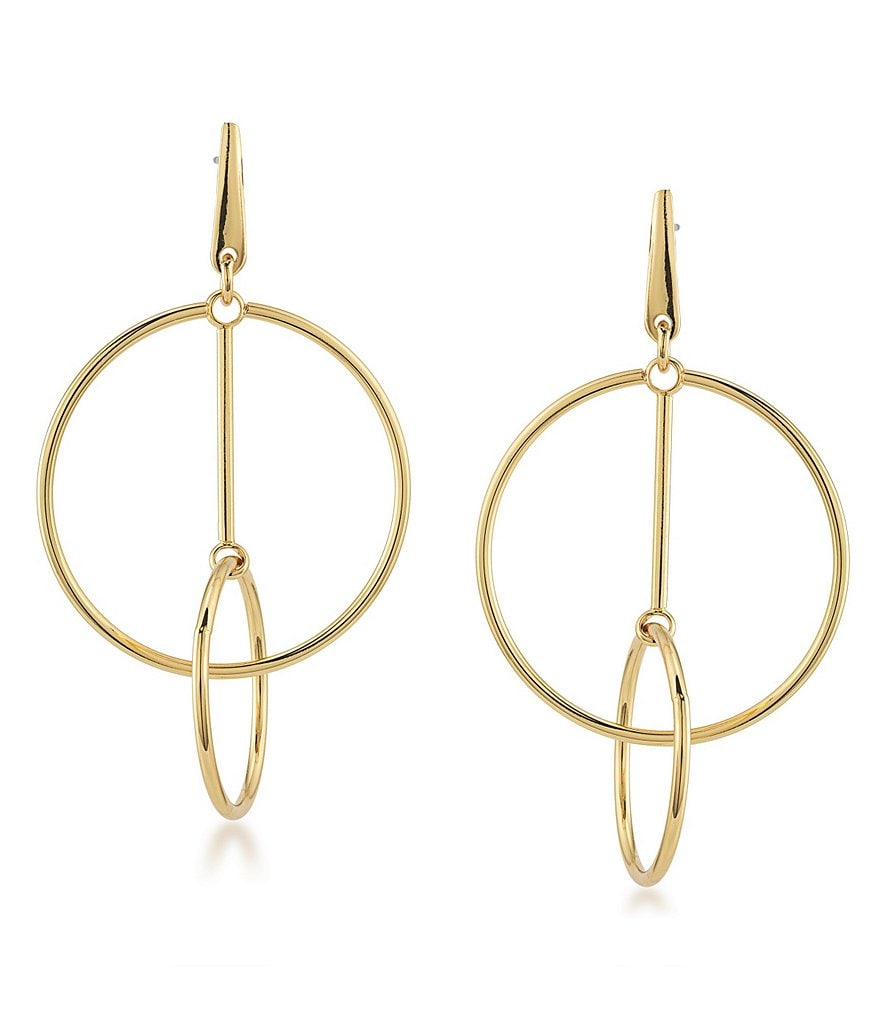 Trina Turk Retro Mod Double-Ring Drop Earrings