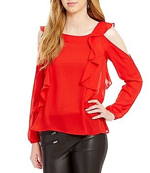 devlin Tristan Cold Shoulder Ruffled Blouse