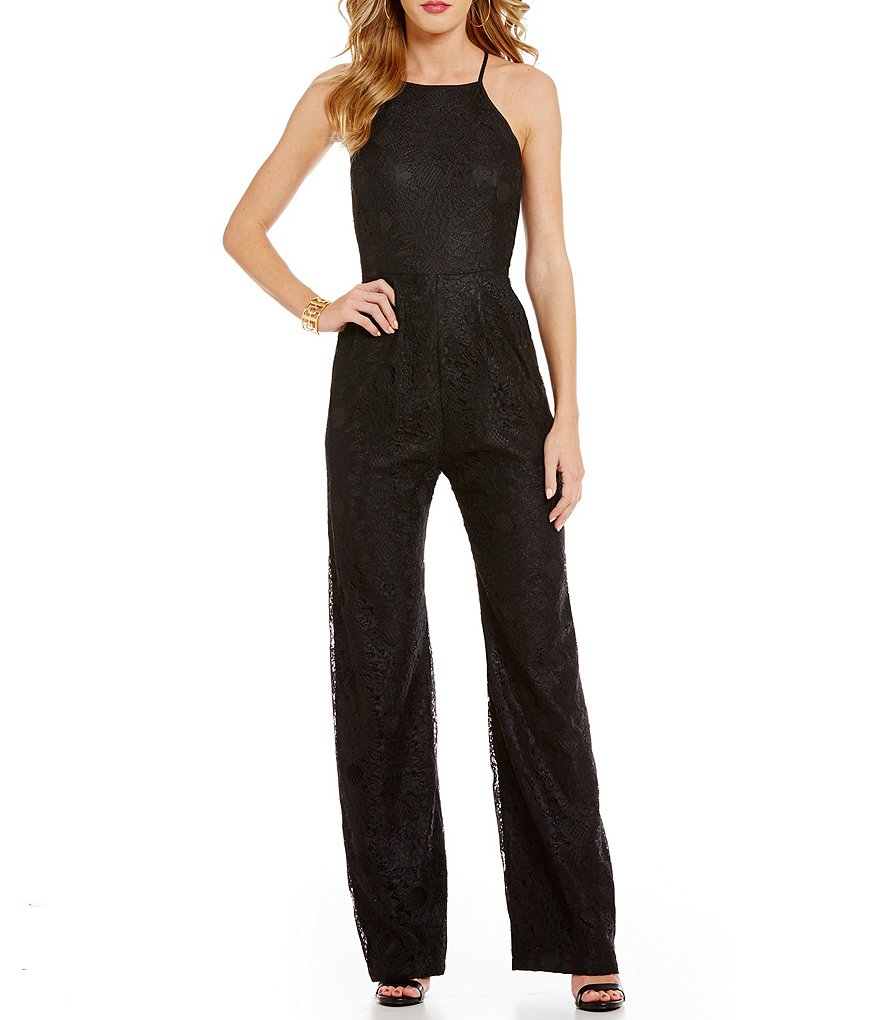 devlin Sachi Halter Neck Sleeveless Full-Length Solid Lace Jumpsuit