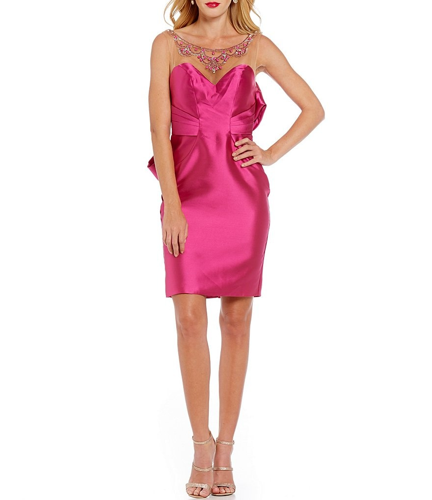 Glamour by Terani Couture Embellished Illusion Yoke Bow-Back Sheath Dress
