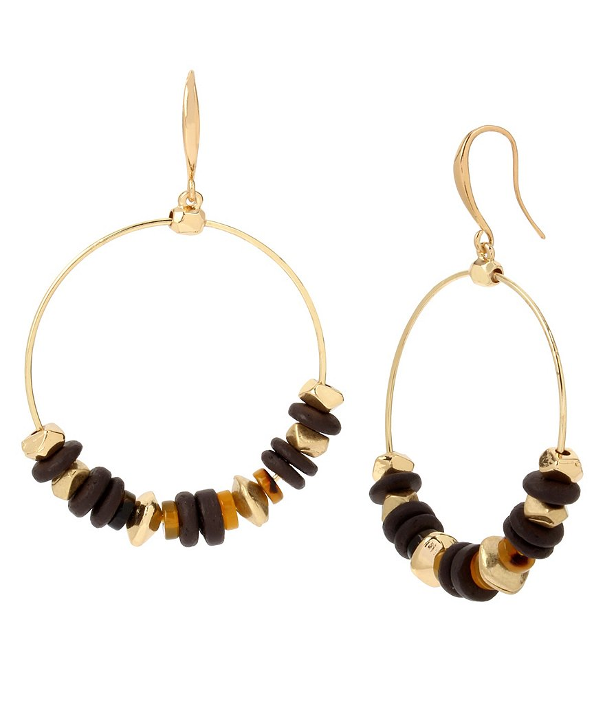 Robert Lee Morris Soho Tortoise & Wood Beaded Hoop Earrings