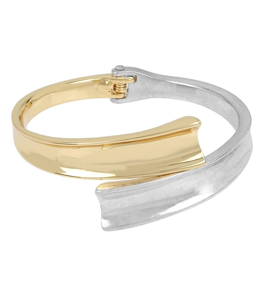 Robert Lee Morris Soho Two-Tone Sculptural Bypass Hinged Bangle Bracelet