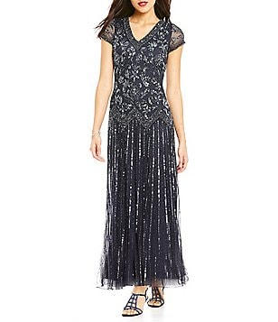 Pisarro Nights Beaded V-Neck A-line Gown