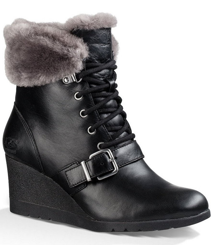 UGG® Janney Lace Up Sheepskin Cuff Strap Detail Leather Wedge Boots