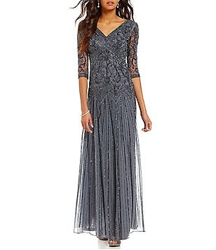 Pisarro Nights Beaded V-Neck 3/4 Sleeve Gown