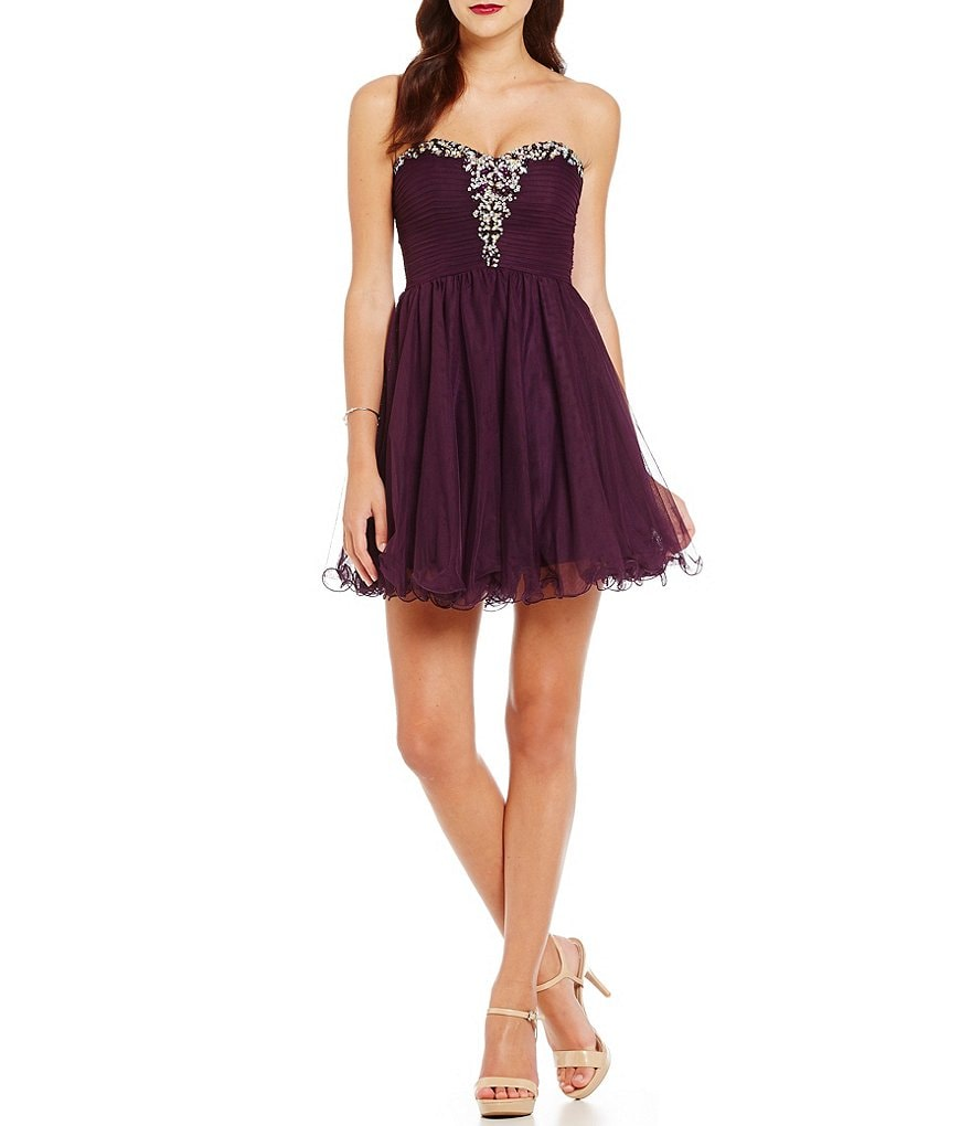 Blondie Nites Strapless Beaded Trim Fit-and-Flare Party Dress