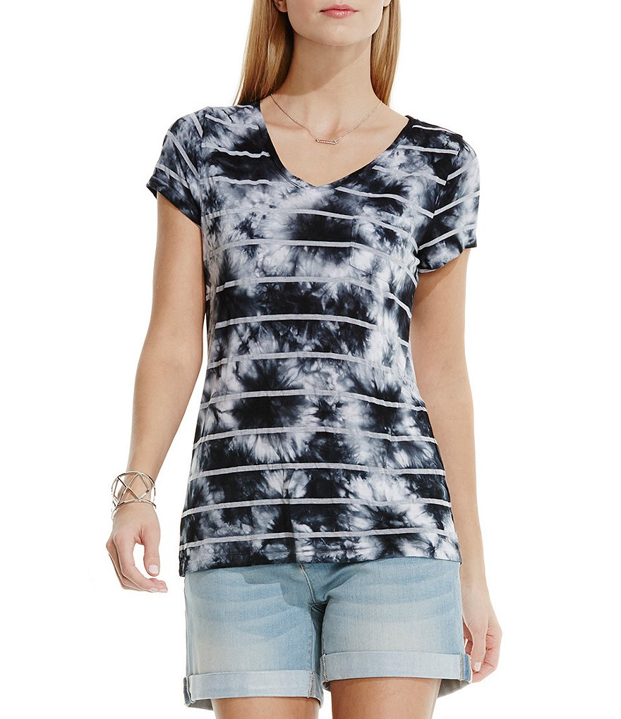 Two By Vince Camuto Stripe True Tie Dye V-Neck Tee