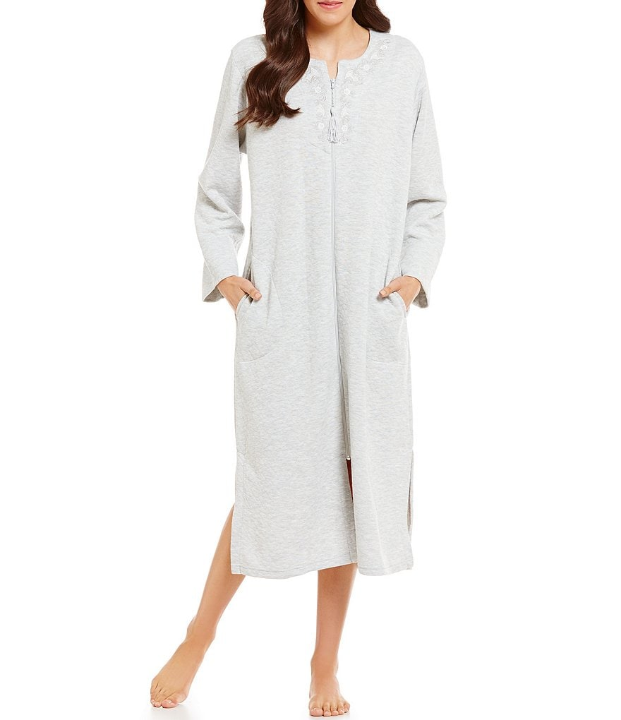 Miss Elaine Embroidered Quilted Zip Robe