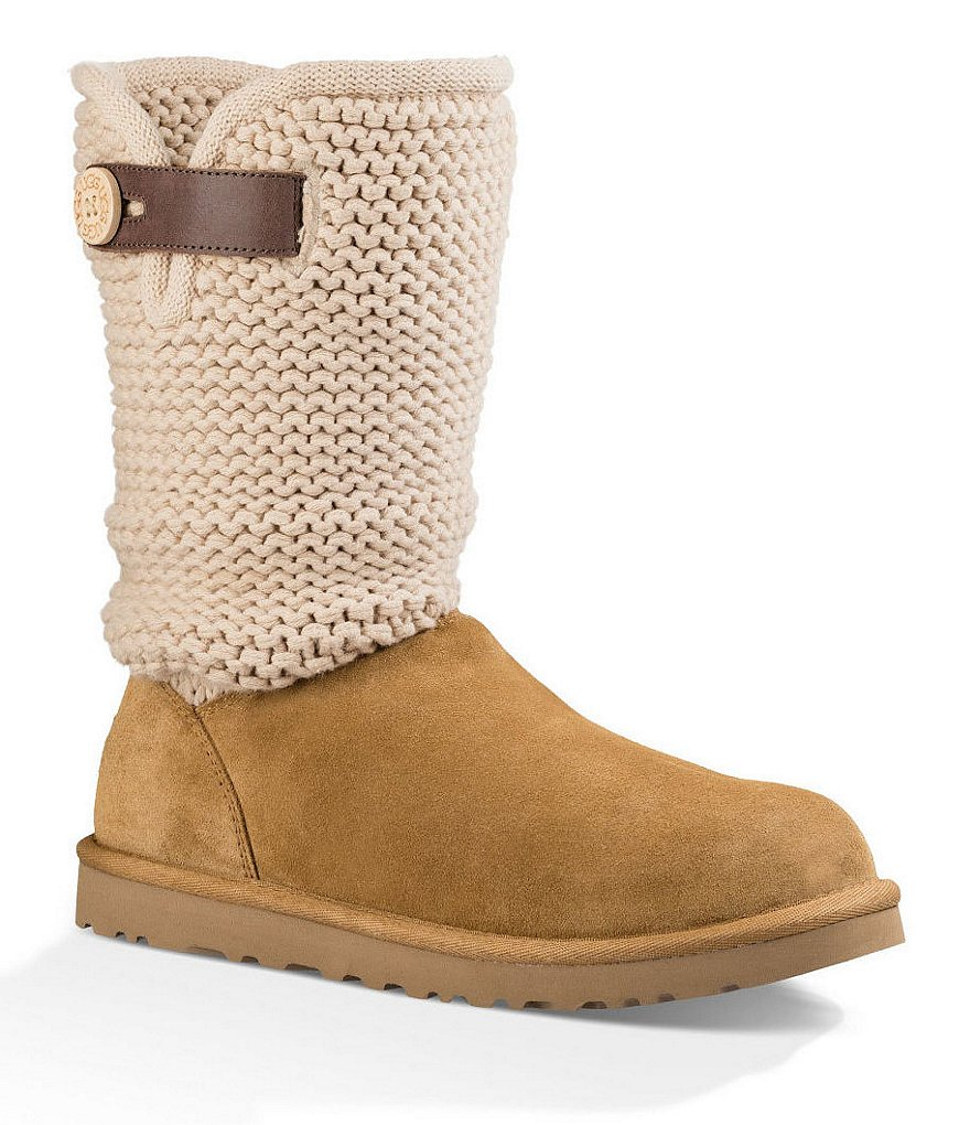 UGG® Shaina Knit Top Leather Strap Boots