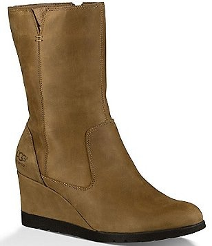 UGG® Joely Waterproof Leather Zipper Wedge Boots