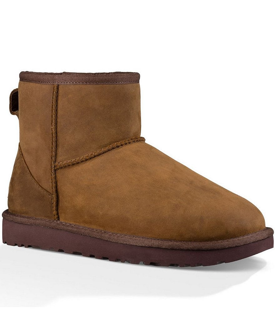 UGG® Classic Mini Water-Resistant Leather Ankle Booties