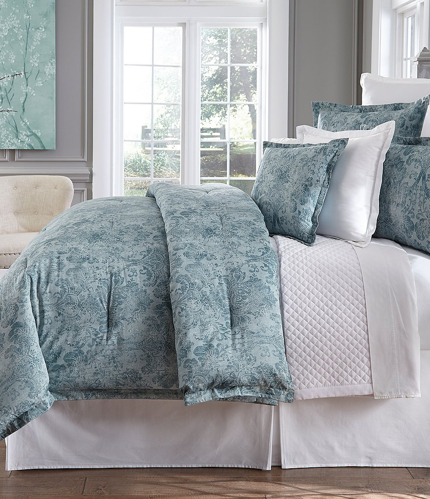 Southern Living Athena Distressed Damask Sateen Comforter Mini Set