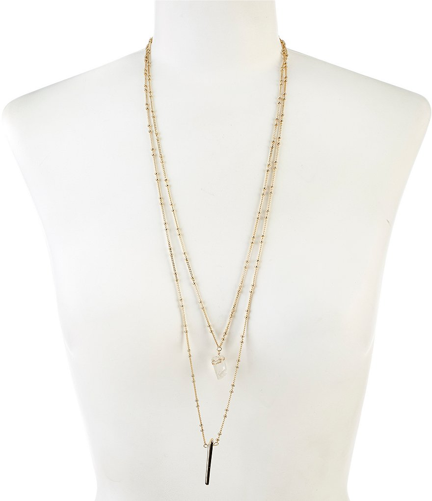 Anna & Ava Two-Row Quartz Pendant Necklace