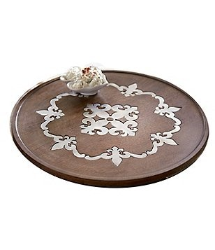 Mud Pie France Collection Fleur De Lis Mango Wood & Metal Lazy Susan