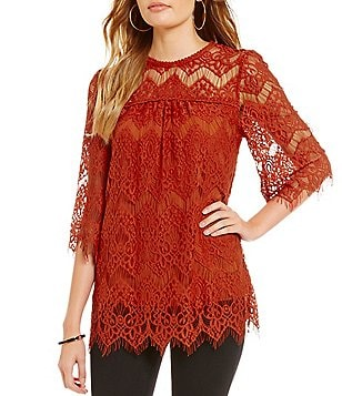 Blu Pepper Lace Woven Blouse